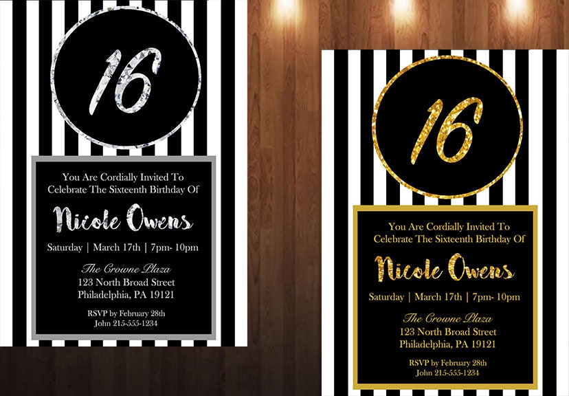 Black & Gold 16th Birthday Party Invitation Black and Silver
