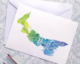 PEI Watercolour Map Greeting Card, Welcome to Prince Edward Island Hand Lettered Text, Gift or Postcard, Giclée Print, Map Art, 5 Colours