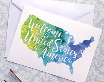 USA Watercolor Map Greeting Card, Welcome to the United States of America Hand Lettered Text, Gift, Postcard, Giclée Print Map Art, 5 Colors