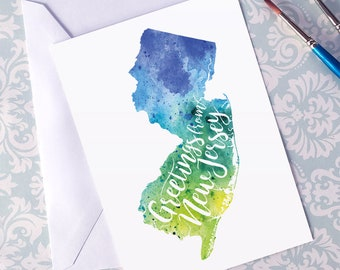 New Jersey Watercolor Map Greeting Card, Greetings from New Jersey Hand Lettered Text, Gift or Postcard, Giclée Print, Map Art, 5 Colors