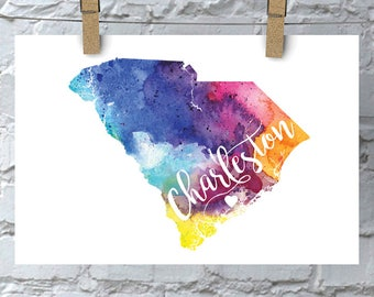 Custom South Carolina Map Art, SC Watercolor Heart Map Home Decor, Charleston or Your City Hand Lettering, Personalized Print, 5 Colors