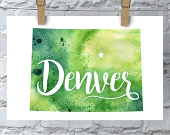 Custom Colorado Map Art, Colorado Watercolor Heart Map Home Decor, Denver or Your City Hand Lettering, Personalized Giclee Print, 5 Colors