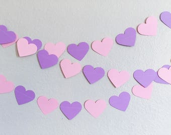 Pink and Purple Paper Hearts Garland 7ft