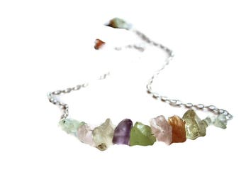 Rough Gem Necklace - Mother's Day Gift - Raw Gem Necklace Bonboni Color - Natural Gem Jewelry -  Gift For Her - Handmade Natural gem Jewelry