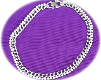 Choker Necklace Silver Chain with Crystal Rhinestone Edge