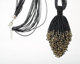 Fox tail tassel necklace beaded Tail necklace black Wearable art