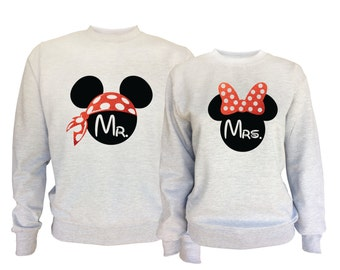 Disney inspired Mr and Mrs Mickey Mouse matching sport grey sweatshirts.