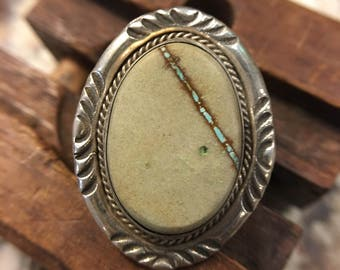 Authentic Navajo Boulder Turquoise Sterling Silver Ring signed by Scott Skeets - size 5.5