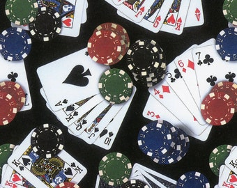 Poker Cards and Poker Chips, Medium Print, 100% Cotton Elizabeth's Studios, Sold By the Half Yard