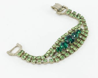 50s Green Rhinestone Bracelet   2 Tone Green Rhinestones