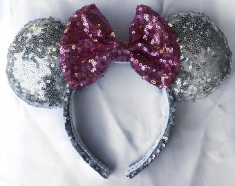Glitzy Silver and Pink ears