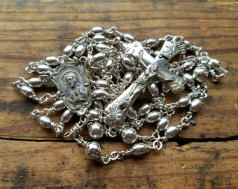 Beautiful Vintage 100% Sterling Silver Creed Rosary Beads Necklace Cross Crucifix 5 Decade Rosary Sacred Heart Our Lady of Mt Carmel Detail