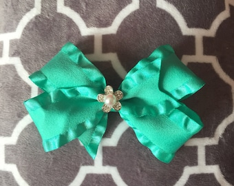 Aqua and flower dog bow