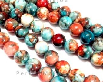 60 perles naturelles fossiles rondes colorées diamètre 6 mm