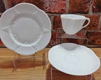 Vintage Shelley Dainty White Fine Bone China Trio cup saucer side plate