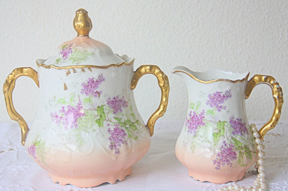 Lovely Antique Limoges Porcelain Creamer and Sugar Set, Gradient Salmon Pink with Handpainted Purple Flower Pattern, France