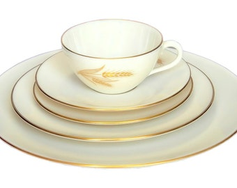 Lenox Wheat 5 Piece Place Setting R 442 Vintage 1940 - 1982 Discontinued