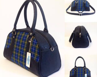 Retro style Maisie bowler bag - Gorgeous Nova Scotia Tartan fabric - navy portuguese cork and Heather Bailey interior