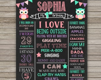 Owls Chalkboard Poster, Owls First Birthday, ANY AGE, Owls Poster Printable, Little Owls  Birthday Party, Photo prop, Owls Sign Personalized