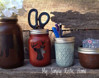 Bear mason jar-Deer Mason Jar Desk Set-Desk Set-Mason Jar Office-Desk Organize-Mason Jar Office Set-Office Set-Desk Decor-cabin decor