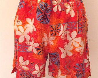 Vintage 1980s Colorful Hawaiian Summer Swim Trunks Shorts Mens Swimwear Festival Retro by Sunset Highway