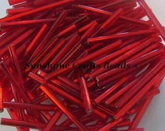 30MM Preciosa Czech Glass Seed Beads SILVERLINED LIGHT RED Bugle 100 Pcs  - 47-B302