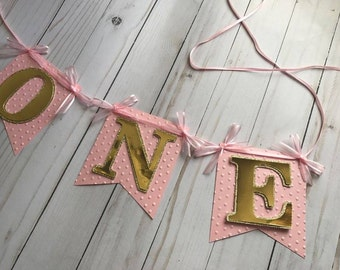 One Banner, Custom Banner, Pink and gold banner, First Birthday Banner, Girl Banner (price for each letter)