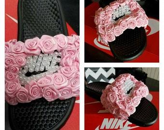 Roses & pearls Nike slides