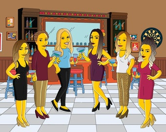 Bridesmaids Simpsonized Portrait - custom gift for your bridesmaids