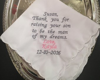 Mother of the groom wedding handkerchief