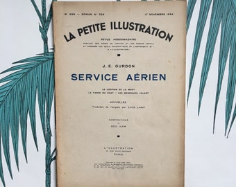 French Literary Journal. La Petite Illustration. Ancienne Revue. Novels. Ephemera. Literary Gifts. Géo Ham Illustrations. Service Aérien