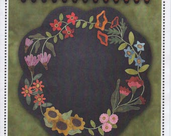 Garden Blooms Wool Applique Table Mat by Primitive Gatherings