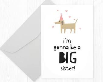 Printable Cute Pregnancy Announcement Card - Dog Big Sister Card - Big Sister Pet Card - Modern Pregnancy Card - Funny Pregnancy Card