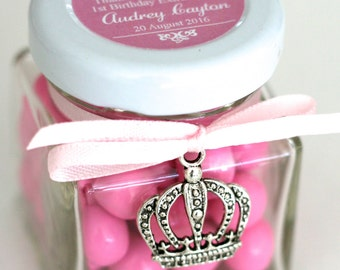Princess Party Favour - Personalised Chocolates Candy Jar with Silver Crown Charm