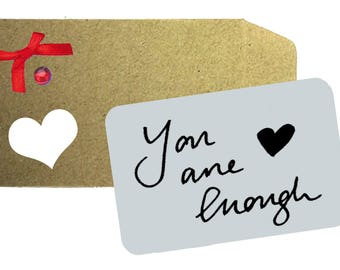 You are Enough Love note - Printed Aluminium Note,  Love Note, Wallet Note, Wife, Husband, Anniversary Gift, Gift, Love Token, Wallet, Love