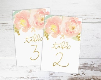 """Watercolor Blush Peony with Gold, Wedding Table Numbers 1-25,  4x6"""" PRINTABLE"""
