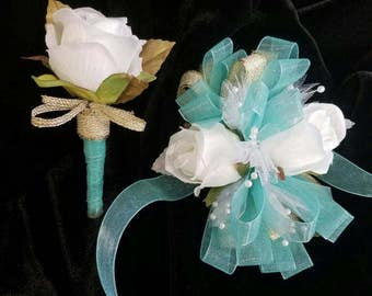 Prom Corsage Mint White Gold Wrist Corsage with Matching Boutonniere Ready to Ship