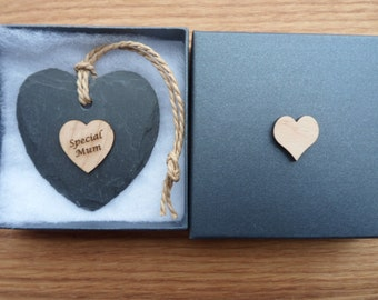 Speacial Mum, 7cm Slate Heart with Engraved Maple Heart