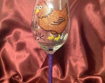 Glitter wine glass chicken design