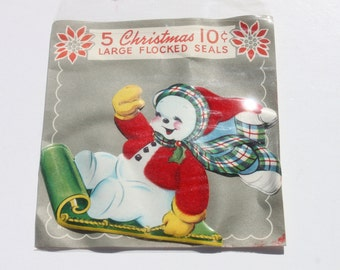 "Vintage Snowman Christmas Seals, Large Flocked Sticker 4 1/2"" tall, Holiday Gift Wrap"