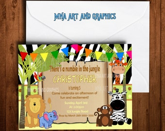 Jungle animals birthday party invitations 4X6 or 5x7 Jungle Birthday Party Printable Invite - Jungle party themed invitation
