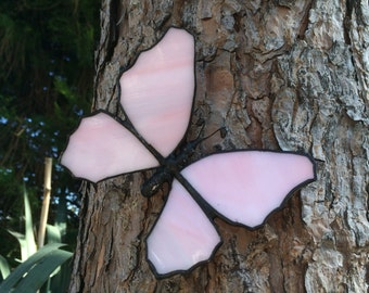 Stained glass pink butterfly ,Butterfly home decor, pink butterfly, garden butterfly, butterfly hanger, suncather  ,glass butterfly,