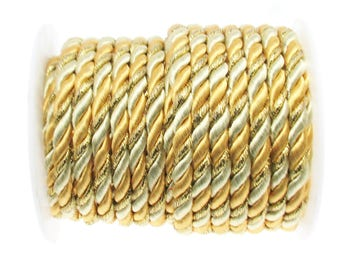5mm Round Yellow and Gold Twisted Polyester and Satin Cord, Semi-soft Cord,Twisted Designer Cord sold in Lengths of 2 Meters / 2.2  Yards