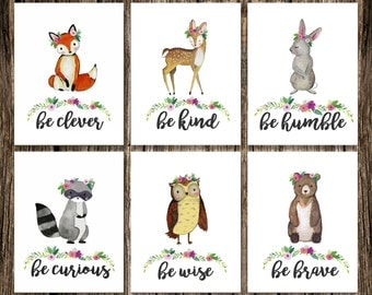 Woodland Animal GIRL Nursery Decor | DIGITAL DOWNLOAD | Fox Deer Raccoon Owl Bear Rabbit | Be Brave Be Kind Be Curious Be Clever | Wall Art