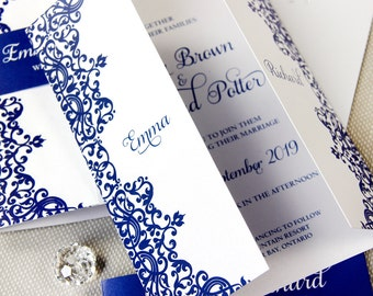 Royal Blue Gatefold Personalised Wedding Day Invitation with Band High Quality Digital Printing