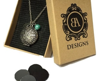 "Essential Oil Diffuser Necklace | Antique Silver with Charms | 18"" Chain 