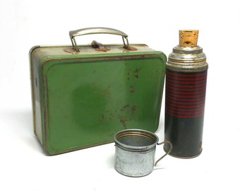 Vintage Metal Lunchbox With Thermos - Green Lunchbox - Lunchbox and Thermos