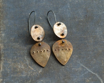 discs and petals- abstract industrial funky riveted oxidised hand- cut brass dangle earrings with sterling silver