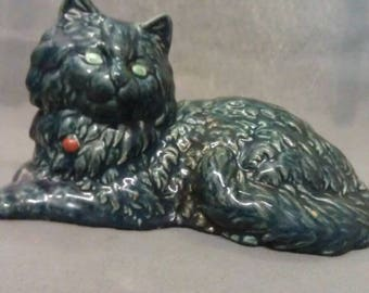 Blue Grey Cat with Beige and Green Eyes Colorful Sitting Cat Figurine