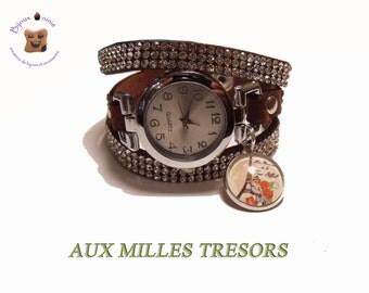 Chocolate suedette and cabochon paris rhinestone watch